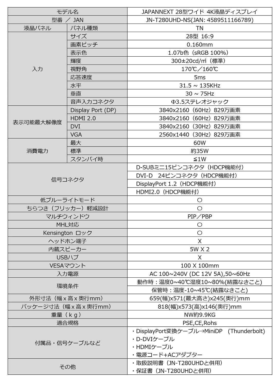 JN-T2820UHD specs only