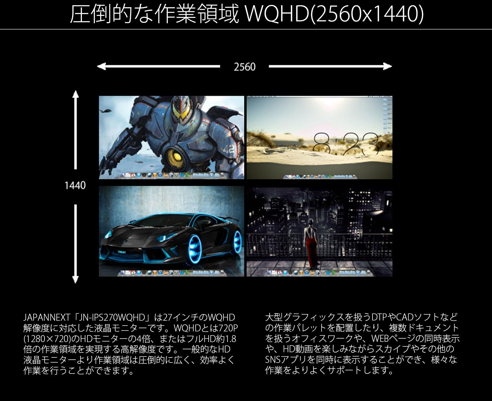JAPANNEXTの本製品は32インチのWQHD 解像度に対応した液晶モニターです。WQHDとは720P (1280×720)のHDモニターの4倍、またはフルHD約1.8 倍の作業領域を実現する高解像度です。一般的なHD 液晶モニターより作業領域は圧倒的に広く、効率よく、 作業を行うことができます。 大型グラフィックスを扱うDTPやCADソフトなど の作業パレットを配置したり、複数ドキュメント を扱うオフィスワークや、WEBページの同時表示 や、HD動画を楽しみながらスカイプやその他の SNSアプリを同時に表示することができ、様々な 作業をよりよくサポートします。