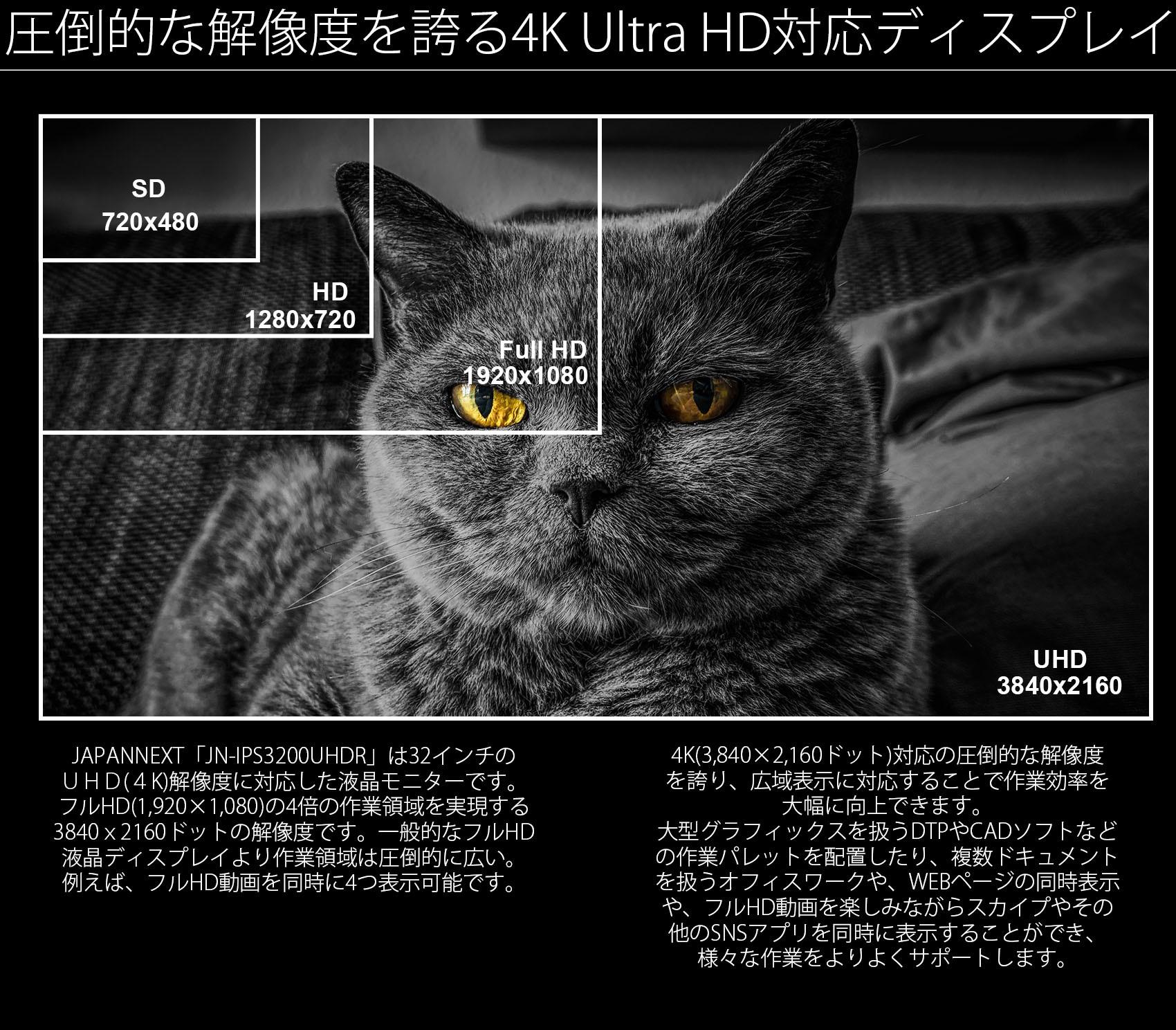 JAPANNEXT「JN-IPS320CUHDR」は32インチのUHD(4K)解像度に対応した液晶ディスプレイです。フルHD(1920×1080)の4倍の作業領域を実現する3840x2160ドットの解像度です。一般的なフルHD液晶ディスプレイより作業領域は圧倒的に広い。例えば、フルHD動画を同時に4つ表示可能です。4K(3840×2160ドット)対応の圧倒的な解像度を誇り、広域表示に対応することで作業効率を大幅に向上できます。大型グラフィックスを扱うDTPやCADソフトなどの作業パレットを配置したり、複数ドキュメントを扱うオフィスワークや、WEBページの同時表示や、フルHD動画を楽しみながらスカイプやその他のSNSアプリを同時に表示することができ、様々な作業をよりよくサポートします。