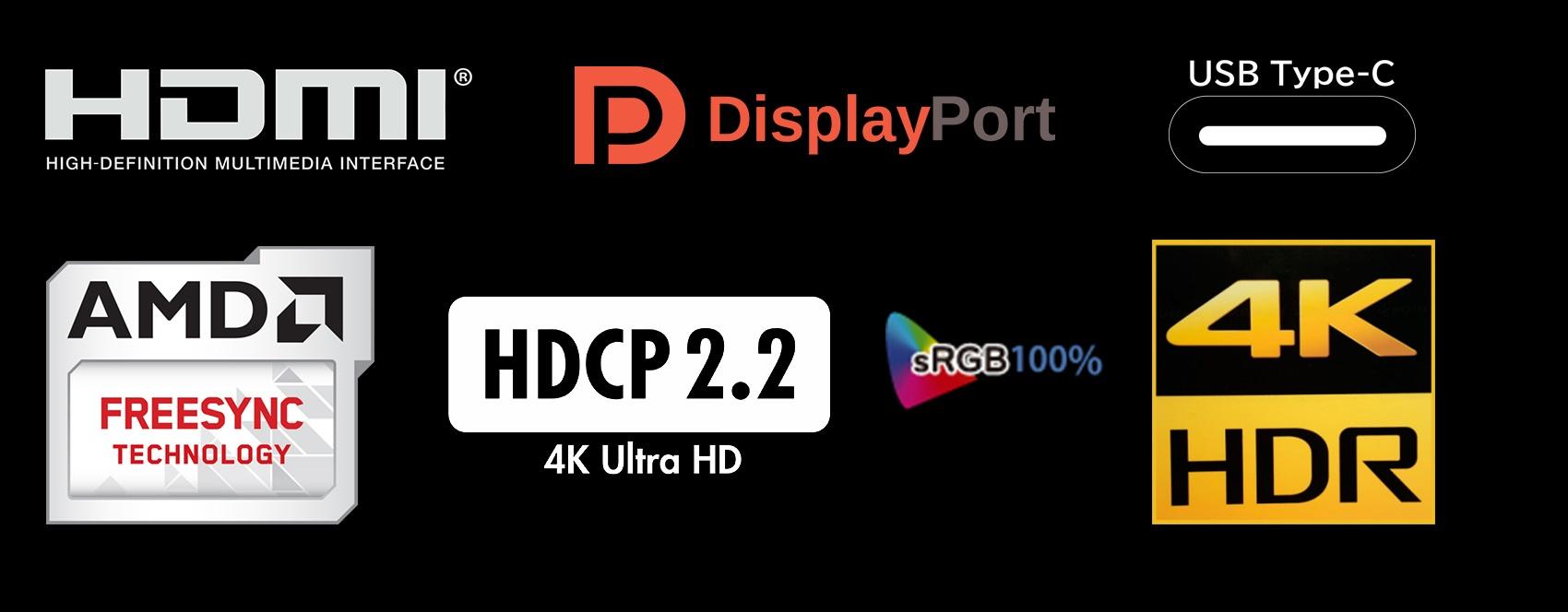 鮮やかな色彩表現AMD FREESYNC 早応答速度角液晶パネル 3840x2160 4K UHD解像度1.07Billion色 srgb 100%対応パネル 省エネ29W
