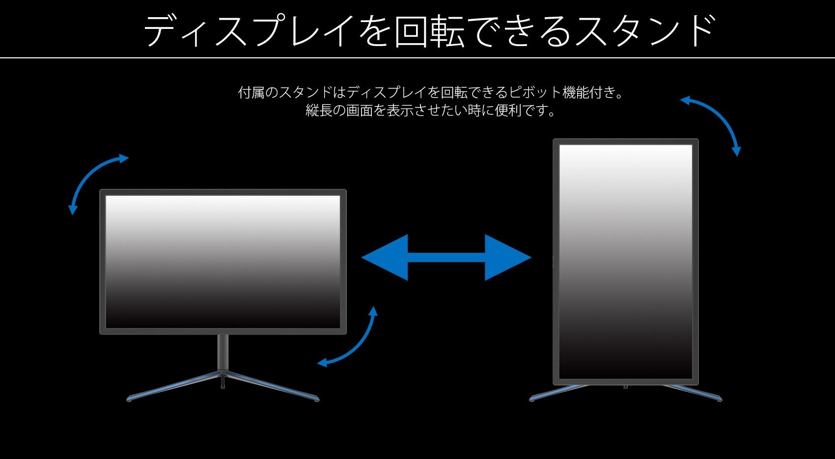 ディスプレイを回転できるスタンド 付属のスタンドはディスプレイを回転できるピボット機能付き。 縦長の画面を表示させたい時に便利です。