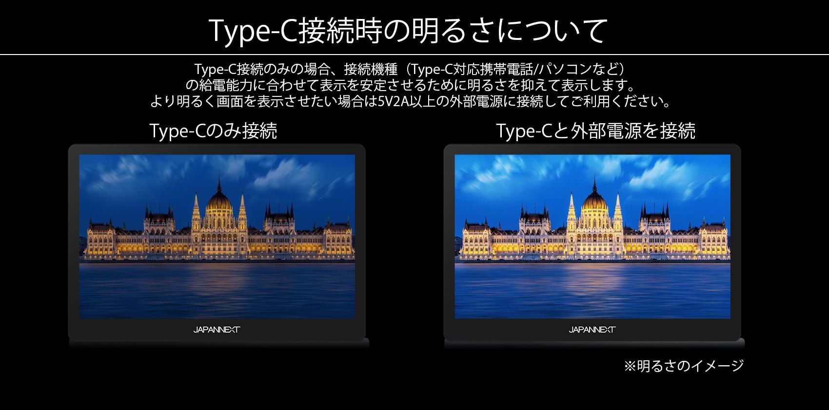 Type-C接続のみの場合、接続機種(Type-C対応携帯電話/パソコンなど)、 の給電能力に合わせて表示を安定させるために明るさを抑えて表示します。 より明るく画面を表示させたい場合は5V2A以上の外部電源に接続してご利用ください。 Type-Cのみ接続 Type-Cと外部電源を接続