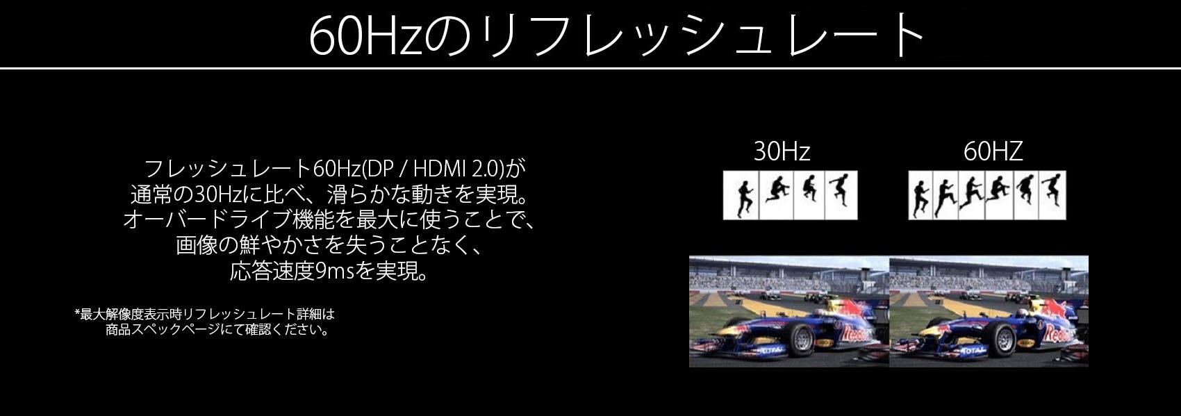 60hzリフレッシュレートで映像が滑らかに。応答速度は9msを実現。