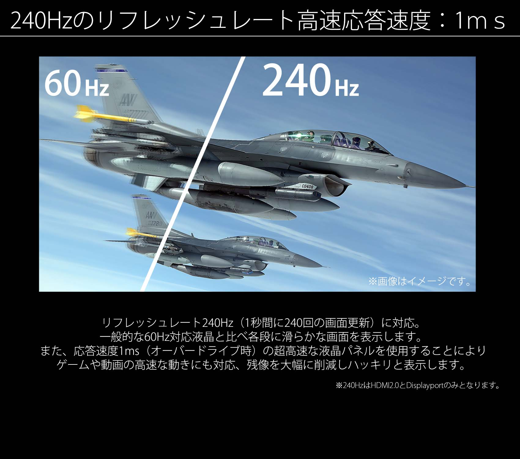リフレッシュレート240hz 応答速度1ms 21:9 ゲーミングモニター